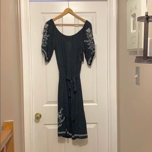 Spring/Summer Navy Blue embroidered dress